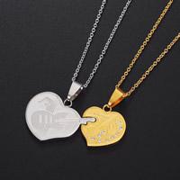 Ожерелье-пара, Нержавеющая сталь 304, Сердце, Другое покрытие, Овальный цепь & с письмо узором & для пара & со стразами, 44mm, длина:Приблизительно 17.5 дюймовый, продается Пара