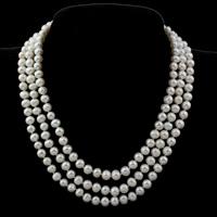 Природное пресноводное жемчужное ожерелье, Пресноводные жемчуги, латунь Раздвижной замок, Форма картофеля, натуральный, 3-нить, белый, 7-8mm, Продан через Приблизительно 16.5 дюймовый Strand