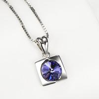 Серебряное ожерелье, Серебро 925 пробы, Прямоугольная форма, Цепной ящик & Женский & с кубическим цирконием, 8.7x15.8mm, 0.8mm, Продан через Приблизительно 18 дюймовый Strand