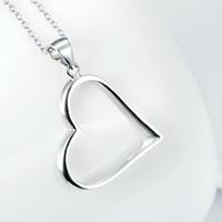 Серебряное ожерелье, Серебро 925 пробы, Сердце, Овальный цепь & Женский, 22x31mm, 1.2mm, Продан через Приблизительно 18 дюймовый Strand