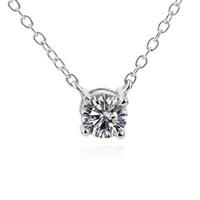 Серебряное ожерелье, Серебро 925 пробы, Плоская круглая форма, Овальный цепь & Женский & с кубическим цирконием, 7.5x7.8mm, 6mm, 1.5mm, Продан через Приблизительно 18 дюймовый Strand