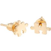 Асимметричные серьги, Латунь, плакирован золотом, Женский, не содержит свинец и кадмий, 9x5.5mm, продается Пара