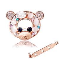 Серьги «Кошачий глаз», цинковый сплав, с кошачий глаз & Кристаллы, Медведь, плакирован золотом, Женский & граненый & со стразами, не содержит никель, свинец, 31x39mm, продается PC