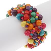 Деревянные браслеты, деревянный, крашеный, 4-10mm, Продан через Приблизительно 7.5 дюймовый Strand