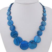 Ожерелье из ракушки, Пресноводные оболочка, с цинковый сплав, с 5cm наполнитель цепи, Плоская круглая форма, Платиновое покрытие платиновым цвет, крашеный & Женский, голубой, 6-30x5mm, Продан через Приблизительно 18 дюймовый Strand