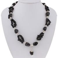 Ожерелье из ракушки, Пресноводные оболочка, с цинковый сплав, с 5cm наполнитель цепи, Платиновое покрытие платиновым цвет, крашеный & Женский, черный, 30x14x12mm, Продан через Приблизительно 18 дюймовый Strand