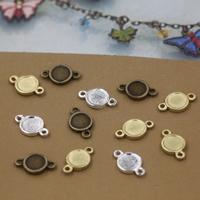 Ювелирные коннекторы, Латунь, Плоская круглая форма, Другое покрытие, 1/1 петля, Много цветов для выбора, не содержит никель, свинец, 11x7mm, отверстие:Приблизительно 1.5mm, 100ПК/сумка, продается сумка