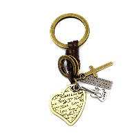 Брелки для ключей, цинковый сплав, с Шнур из натуральной кожи, Сердце, Другое покрытие, с письмо узором, 35x28mm, 98mm, 3пряди/Лот, продается Лот