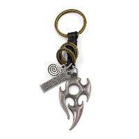Брелки для ключей, цинковый сплав, с Шнур из натуральной кожи, Другое покрытие, с письмо узором, 115mm, 2пряди/Лот, продается Лот