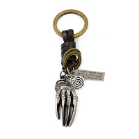Брелки для ключей, цинковый сплав, с Шнур из натуральной кожи, Рука, Другое покрытие, с письмо узором, 45mm, 105mm, 2пряди/Лот, продается Лот