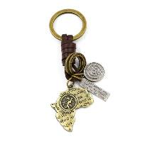 Брелки для ключей, цинковый сплав, с Шнур из натуральной кожи, карта, Другое покрытие, 32x108mm, 3пряди/Лот, продается Лот