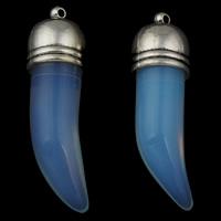 Опаловые кулоны, Морской опал, с кулон из цинкового сплава, Зуб волка, плакированный цветом под старое серебро, 14x46x13.50mm, отверстие:Приблизительно 1mm, 5ПК/сумка, продается сумка