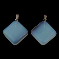 Опаловые кулоны, Морской опал, с цинковый сплав под залог, Ромбическая форма, Платиновое покрытие платиновым цвет, 25x27x6mm, отверстие:Приблизительно 3x5mm, 5ПК/сумка, продается сумка