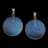 Опаловые кулоны, Морской опал, с цинковый сплав под залог, Плоская круглая форма, Платиновое покрытие платиновым цвет, 20x23x4.50mm, отверстие:Приблизительно 3x5mm, 5ПК/сумка, продается сумка