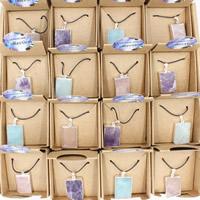 Ожерелья из драгоценных камней, Полудрагоценный камень, с Вощеная Конопля шнура & железный обруч & Латунь, Квадратная форма, плакирован серебром, регулируемый & Женский, разноцветный, 25x40x450mm, длина:Приблизительно 17.5 дюймовый, 3пряди/сумка, продается сумка