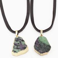 Красно-зеленый нефрит Свитер ожерелье, с железный обруч & Искусственная кожа & Латунь, плакирован золотом, Женский, 25x700mm, длина:Приблизительно 27.5 дюймовый, 3пряди/сумка, продается сумка