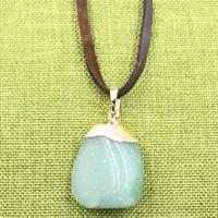 Зеленый авантюрин Свитер ожерелье, с железный обруч & Искусственная кожа & Латунь, плакирован золотом, регулируемый & Женский, 25x700mm, длина:Приблизительно 27.5 дюймовый, 3пряди/сумка, продается сумка