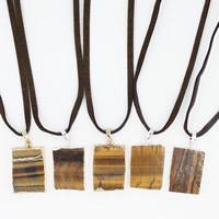 тигровый глаз Свитер ожерелье, с железный обруч & Искусственная кожа & Латунь, Квадратная форма, Другое покрытие, регулируемый & Женский, разноцветный, 20x30x700mm, длина:Приблизительно 27.5 дюймовый, 3пряди/сумка, продается сумка
