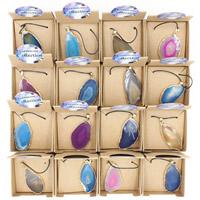 Ледниковый кварц-агат Ожерелье, с Вощеная Конопля шнура & железный обруч & Латунь, с 7cm наполнитель цепи, плакирован серебром, druzy стиль & регулируемый & Женский, разноцветный, 60x450mm, длина:Приблизительно 17.5 дюймовый, 3пряди/сумка, продается сумка