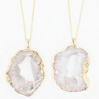 Ледниковый кварц-агат Свитер ожерелье, с железный обруч & Латунь, с 7 наполнитель цепи, плакирован золотом, druzy стиль & разный размер для выбора & Овальный цепь & Женский, длина:Приблизительно 27.5 дюймовый, 3пряди/сумка, продается сумка