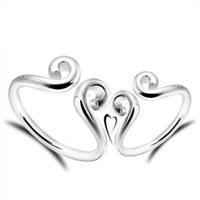 Латунь Манжеты палец кольцо, плакирован серебром, с 925 логотипом & для пара, не содержит свинец и кадмий, 16-19mm, размер:6.5-8, продается Пара