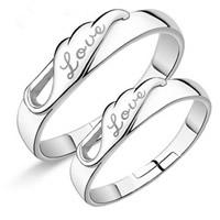 Пара кольца перста, Латунь, слова любви, плакирован серебром, с 925 логотипом & регулируемый & для пара, не содержит свинец и кадмий, 19-20mm, размер:8-10, продается Пара