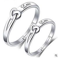 Пара кольца перста, Латунь, слова любви, плакирован серебром, с 925 логотипом & регулируемый & для пара, не содержит свинец и кадмий, 18-19mm, размер:8-10, продается Пара