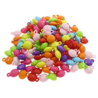 акриловые кулоны, Акрил, ровный цвет, разноцветный, 12x16x7mm, отверстие:Приблизительно 2.5mm, 500G/сумка, продается сумка