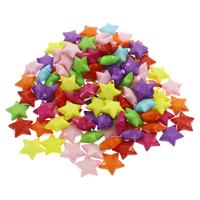 акриловые кулоны, Акрил, Звезда, ровный цвет, разноцветный, 15x14x5mm, отверстие:Приблизительно 1mm, 500G/сумка, продается сумка