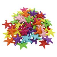 акриловые кулоны, Акрил, Морская звезда, ровный цвет, разноцветный, 24x26x5mm, отверстие:Приблизительно 1mm, 500G/сумка, продается сумка