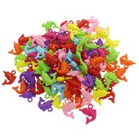 акриловые кулоны, Акрил, Дельфин, ровный цвет, разноцветный, 20x22x5mm, отверстие:Приблизительно 2.5mm, 500G/сумка, продается сумка