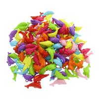 акриловые кулоны, Акрил, Дельфин, ровный цвет, разноцветный, 25x14x9.50mm, отверстие:Приблизительно 1.5mm, 500G/сумка, продается сумка
