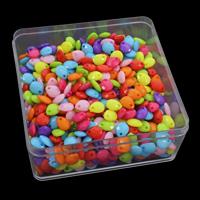 акриловые кулоны, Акрил, с пластиковая коробка, Каплевидная форма, граненый & ровный цвет, разноцветный, 95x95x41mm, отверстие:Приблизительно 1mm, 150G/Box, продается Box