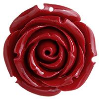 Подвески из смолы, канифоль, Роуз, красный, 31x31x20mm, отверстие:Приблизительно 1mm, продается PC
