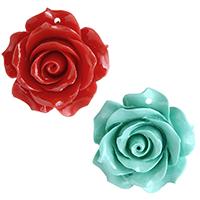 Подвески из смолы, канифоль, Форма цветка, Много цветов для выбора, 37x36x16.50mm, отверстие:Приблизительно 2mm, продается PC