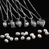 Природное пресноводное жемчужное ожерелье, цинковый сплав, с жемчуг, Платиновое покрытие платиновым цвет, разные стили для выбора & Женский & отверстие, 31x18mm, Продан через Приблизительно 17.5 дюймовый Strand