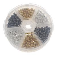 Ажурные бусины, Железо, Другое покрытие, 6 ячеек, разноцветный, не содержит свинец и кадмий, 4mm, 80x20mm, Приблизительно 300ПК/Box, продается Box