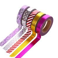 Декоративные ленты, бумага, липкие & разнообразный & бронзирование, 10mm, 5ПК/сумка, Приблизительно 10м/PC, продается сумка