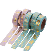 Декоративные ленты, бумага, Круглая форма, липкие & различные модели для выбора & бронзирование, 15mm, 10ПК/сумка, Приблизительно 10м/PC, продается сумка