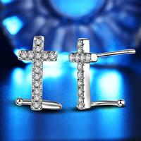 Латунь Сережка-гвоздик, Kресты, плакированный настоящим серебром, инкрустированное микро кубического циркония, не содержит свинец и кадмий, 7x14mm, продается Пара