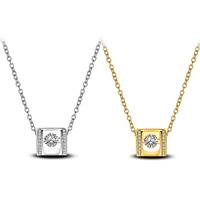 Кубический циркон микро проложить латуни ожерелье, Латунь, Квадратная форма, Другое покрытие, Овальный цепь & инкрустированное микро кубического циркония & Женский, Много цветов для выбора, не содержит свинец и кадмий, 11x10mm, Продан через Приблизительно 17.5 дюймовый Strand