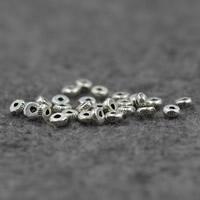 Бусины из настоящего балийского серебра, Таиланд, Плоская круглая форма, 4x2mm, отверстие:Приблизительно 1mm, 10ПК/Лот, продается Лот
