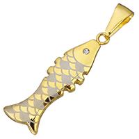 Подвески из циркония, нержавеющая сталь, Рыба, плакирован золотом, с кубическим цирконием, 12x36x3mm, отверстие:Приблизительно 4x9mm, 5ПК/Лот, продается Лот