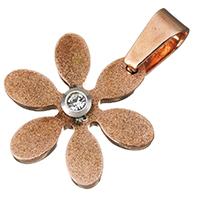 Подвески из циркония, нержавеющая сталь, Форма цветка, Другое покрытие, с кубическим цирконием, 21.50x24x5mm, отверстие:Приблизительно 5.5x8mm, 5ПК/Лот, продается Лот