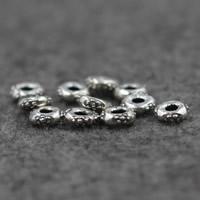 Бусины из настоящего балийского серебра, Таиланд, Плоская круглая форма, 7x2.5mm, отверстие:Приблизительно 2.5mm, 10ПК/Лот, продается Лот