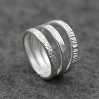 Серебро 925 пробы Манжеты палец кольцо, Женский, 15mm, размер:7, продается PC
