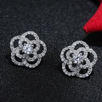 Цирконий Micro Pave латунь Серьги, Латунь, Форма цветка, плакированный настоящим серебром, инкрустированное микро кубического циркония, не содержит свинец и кадмий, 5-10mm, продается Пара