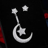 Цирконий Micro Pave латунь Серьги, Латунь, Луна и звезды, плакированный настоящим серебром, инкрустированное микро кубического циркония, не содержит свинец и кадмий, 40-50mm, продается Пара
