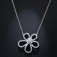 Кубический циркон микро проложить латуни ожерелье, Латунь, Форма цветка, плакированный настоящим серебром, Овальный цепь & инкрустированное микро кубического циркония & Женский, не содержит свинец и кадмий, 30mm, Продан через Приблизительно 15.5 дюймовый Strand