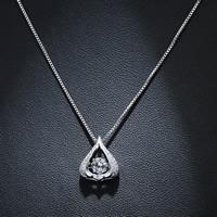 Кубический циркон микро проложить латуни ожерелье, Латунь, Каплевидная форма, плакированный настоящим серебром, Цепной ящик & инкрустированное микро кубического циркония & Женский, не содержит свинец и кадмий, 400mm, Продан через Приблизительно 15.5 дюймовый Strand